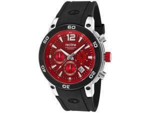 Red Line Men's Mission Chronograph Red Carbon Fiber Dial Black Silicone