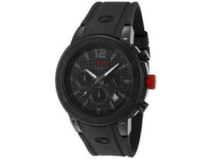 Red Line Men's Mission Chronograph Black Carbon Fiber Dial Black Silicone
