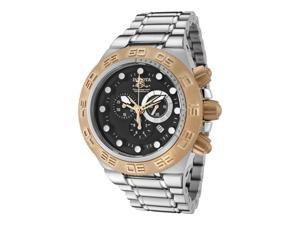 Invicta Men's Subaqua Chronograph Black Dial 18K Rose Gold Plated SS Bezel SS