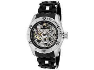 nvicta Men's Sea Spider Mechanical Silver Skeletonized Dial SS & Black Polyureth