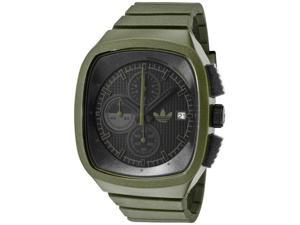 Adidas Men's Black Dial Chronograph Green Iridescent Rubber