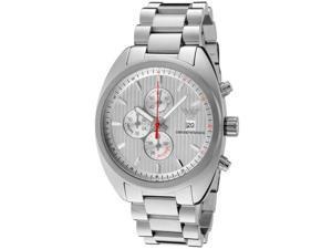 Emporio Armani Men's Sportivo Chronograph Silver Textured Dial Stainless Steel