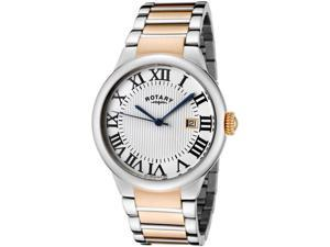 Rotary Men's Light Silver Textured Dial Two Tone