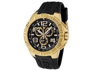 SWISS LEGEND Men's Super Shield Chrono Gold Tone IP Case Black Dial Black Silicon