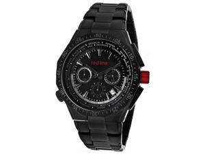 Red Line Men's Travel Chrono Black Dial Black IP Stainless Steel
