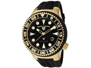 SWISS LEGEND Men's Neptune Black Dial Gold Tone Case Black Silicone