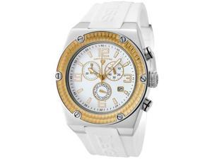 SWISS LEGEND Men's Throttle Chronograph Gold Tone Bezel White Dial White Silicone