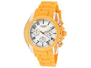 I by Invicta Men's Chronograph White Dial Light Orange Polyurethane