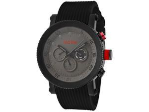 Red Line Men's Compressor Grey Dial Black IP Case Black Silicone