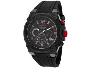ed Line Men's Activator Chronograph Black Textured Dial Black IP Case Black Sili