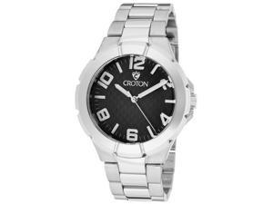 Croton Men's Black Textured Dial Stainless Steel
