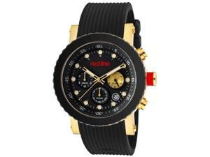 Red Line Men's Compressor Chronograph Black Ceramic Bezel Gold Tone IP Case Black Watch