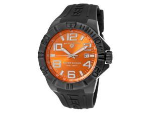 SWISS LEGEND Men's Super Shield Orange Dial Black IP SS Case Black Silicone