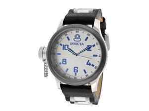 nvicta Men's Signature/Russian Diver Light Grey Textured Dial Black Genuine Leat