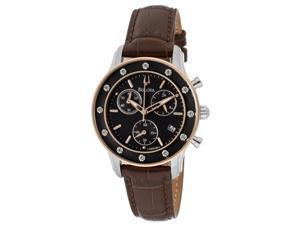 Women's Chronograph Diamond Brown Dial Brown Genuine Leather