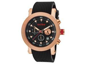 Red Line Men's Compressor Chronograph Black Dial Black Textured Silicone