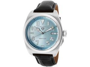 SWISS LEGEND Men's Heritage Light Blue Dial Black Genuine Leather