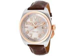 SWISS LEGEND Men's Heritage White MOP Dial Rose Gold Tone Bezel Brown Genuine Leather