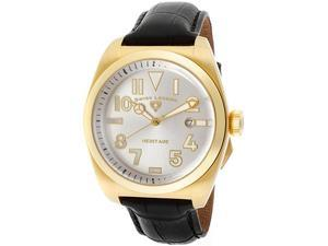SWISS LEGEND Men's Heritage Silver Dial Gold Tone IP Case Black Genuine Leather