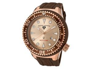 SWISS LEGEND Men's Neptune Rose Gold Dial Rose Gold Tone IP Case Brown Silicone