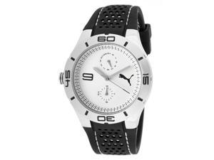 Puma Women's White Dial Black Silicone