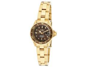 Invicta Women's Pro Diver/Mini Diver Brown Dial 18k Gold Plated Stainless Steel