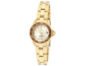 nvicta Women's Pro Diver/Mini Diver Champagne Dial 18k Gold Plated Stainless Ste