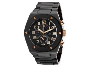 SWISS LEGEND Men's Throttle Chronograph Black Dial Rose Gold Tone Accents Black C