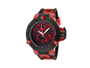 Invicta Men's Subaqua/Noma III Black/Red Dial Black Silicone