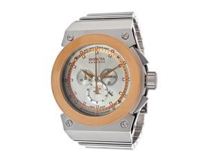 Invicta 11591 Reserve Akula Stainless Steel Case and Bracelet Silver Dial Chronograph Rose Gold Bezel