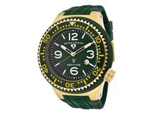 SWISS LEGEND Men's Neptune Green Dial Green Bezel/Gold IP Case Green Silicone