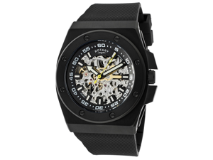 Rotary Men's Editions Automatic Skeletonized Silver/Black Dial Black IP Case Black