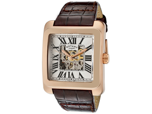 otary Men's Editions Automatic Partially See Thru Silver Dial Rose Gold Tone IP