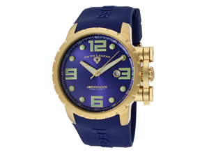 Ambassador Blue Silicone Strap and Dial Gold-Tone Case