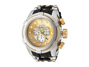nvicta Men's Bolt/Reserve Chronograph Yellow Mother Of Pearl Dial Black Silicone