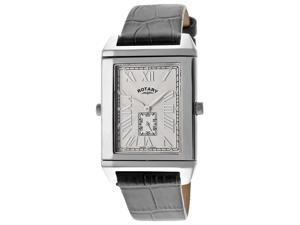 Men's Revelation Black Genuine Leather Silver-Tone Dial