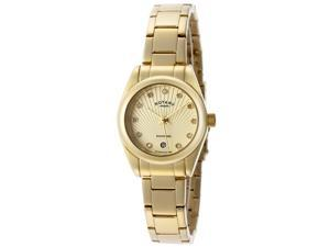 Rotary Women's Diamond Gold Textured Dial Gold IP Stainless Steel