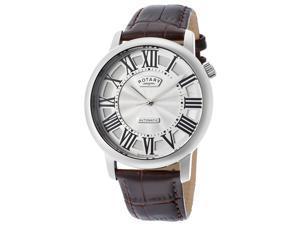 Rotary Men's Automatic Silver Dial Brown Genuine Leather