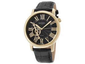 Men's Automatic Gold Tone IP SS Case Black Dial Black Genuine Leather