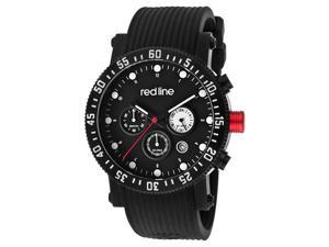 Red Line Men's Compressor Diver Chronograph Black Dial Black Silicone