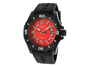 Elini Barokas Men's Artisan Red Textured Dial Black Silicone