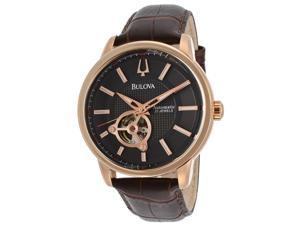 Men's Black Textured Dial Brown Genuine Leather
