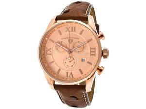 Swiss Legend Men's Bellezza Chronograph Rose Gold Tone Textured Dial Brown Genui