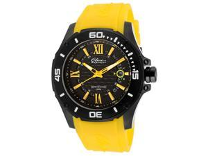 Elini Barokas Men's Artisan Black Textured Dial Yellow Rubber