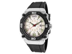 Elini Barokas Men's Comanche White Dial Black Rubber