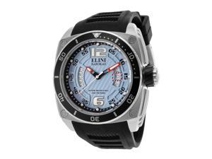 Elini Barokas Men's Commander Light Blue Textured Dial Black Silicone