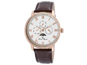 Lucien Piccard Men's Moubra White Dial Brown Genuine Leather
