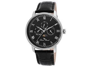 Lucien Piccard Men's Moubra Black Dial Black Genuine Leather