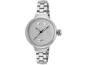 Glam Rock Women's Miami Beach Art Deco White Swarovski Crystal Pave Dial Stainle