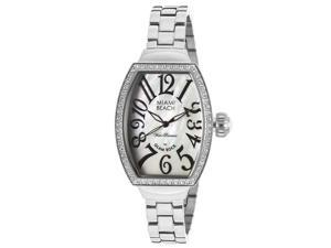 Glam Rock Women's Miami Beach Art Deco White MOP Dial White Crystal Stainless St